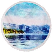 Blue Tahoe Round Beach Towel