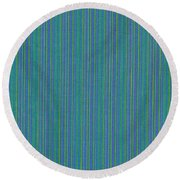 Blue Teal And Yellow Striped Textile Background Round Beach Towel