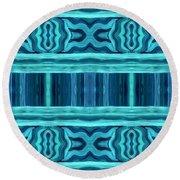Blue Teal Dreams Round Beach Towel