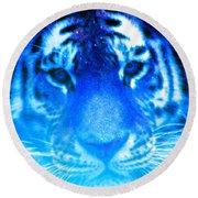 Blue Tiger Round Beach Towel