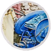 Blue Tractor Round Beach Towel