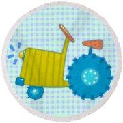 Blue Tractor Round Beach Towel