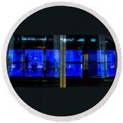 Blue Tram Windows Round Beach Towel