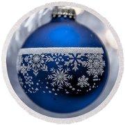 Blue Tree Ornament Round Beach Towel