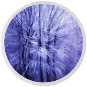 Blue Trees Round Beach Towel