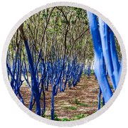Blue Trees In Nature Round Beach Towel