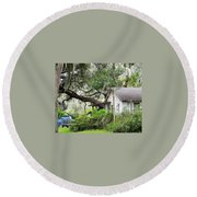 Blue Truck And Moss Round Beach Towel