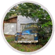 Blue Truck  Round Beach Towel