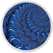 Blue Tubes Round Beach Towel