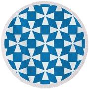 Blue Twirl Round Beach Towel by Linda Woods