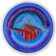 Blue Untitled Image Round Beach Towel