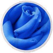 Blue Velvet Rose Flower Round Beach Towel