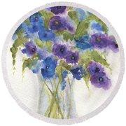 Blue Violet Flower Vase Round Beach Towel