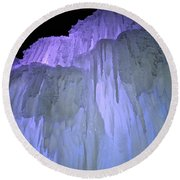 Blue Violet Ice Mountain Round Beach Towel