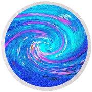 Blue Vortex Abstract 2 Intense Round Beach Towel