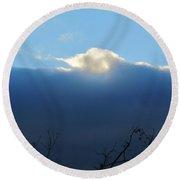 Blue Wall Clouds 3 Round Beach Towel