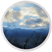 Blue Wall Clouds 4 Round Beach Towel