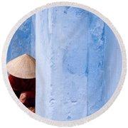 Blue Wall Hawker 01 Round Beach Towel