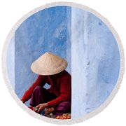 Blue Wall Hawker 02 Round Beach Towel