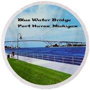 Blue Water Bridge Round Beach Towel