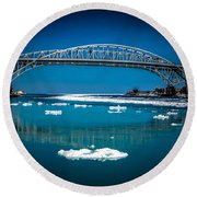 Blue Water Bridge Reflection Round Beach Towel