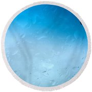 Blue Water Droplets Round Beach Towel