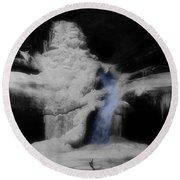 Blue Waterfall Frozen Landscape Round Beach Towel by Dan Sproul