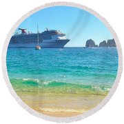 Blue Waters Of Cabo Round Beach Towel