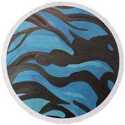 Blue Waves Of Healing Round Beach Towel