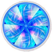 Blue Wheel Inflamed Abstract Round Beach Towel