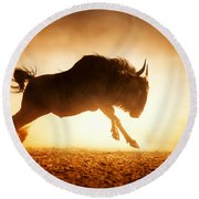 Blue Wildebeest Running In Dust Round Beach Towel