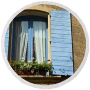 Blue Window And Shutters Round Beach Towel