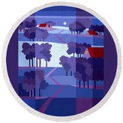 Blue Winter Farms Round Beach Towel