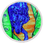 Blue Wolf Round Beach Towel