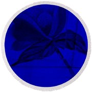 Blue Wood Flower Round Beach Towel