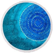 Blue World Original Painting Round Beach Towel