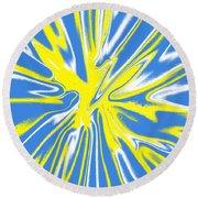 Blue Yellow White Swirl Round Beach Towel