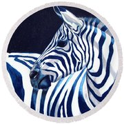 Blue Zebra Round Beach Towel