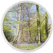 Bluebell Time In England Round Beach Towel