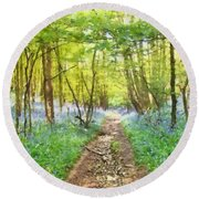 Bluebell Wood Watercolour Round Beach Towel