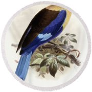 Bluebellied Roller Round Beach Towel