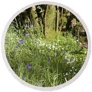 Bluebells And Greater Stitchwort Spring  Boot Eskdale Cumbria England Round Beach Towel