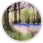 Bluebells At Dusk Round Beach Towel