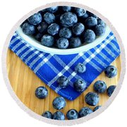 Blueberries And Blue Napkin Round Beach Towel