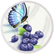 Blueberries And Butterfly Round Beach Towel