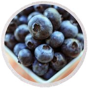Blueberries Closeup Round Beach Towel