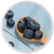 Blueberries On A Spoon Round Beach Towel