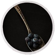 Blueberries On Silver Spoon Round Beach Towel