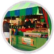 Blueberries Strawberry Jam Baskets Ferme Racine Petits Fruits Jean Talon Market Scene Carole Spandau Round Beach Towel