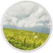 Blueberry Field And Goldenrod With Dramatic Sky In Maine Round Beach Towel by Keith Webber Jr